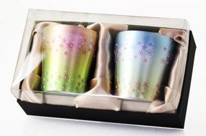 画像1: 二重タンブラー 華チタン 桜舞 ブルー・ピンク set