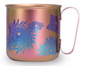 画像1: 純チタンデザインマグカップ 菊(ペールピンク)