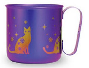 画像1: 純チタンデザインマグカップ ネコ(パープル)