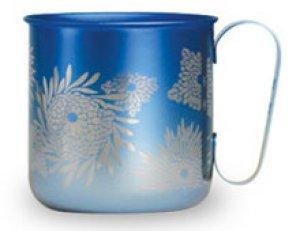 画像1: 純チタンデザインマグカップ 菊(グラデーションブルー)