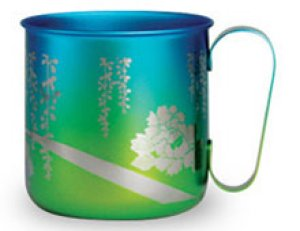 画像1: 純チタンデザインマグカップ 牡丹(イエローグリーン)